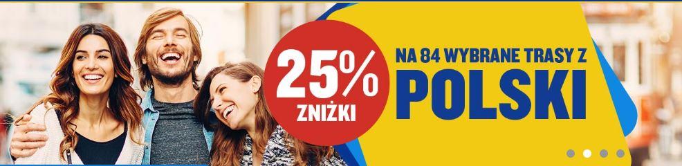 25% rabatu na wybrane loty z Polski i do Polski (84 trasy) @ Ryanair