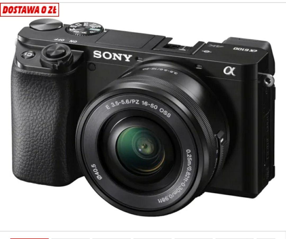 Aparat Sony A6100 (ILCE-6100) + obiektyw 16 - 50PZ mm Czarny+ 250 zł bon do Mediamarkt