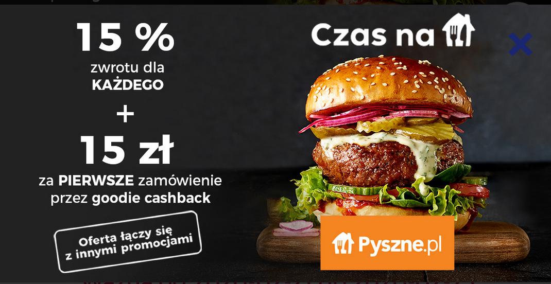 -15% w pyszne.pl z goodie + 15 zł zwrotu na pierwsze zamowienie