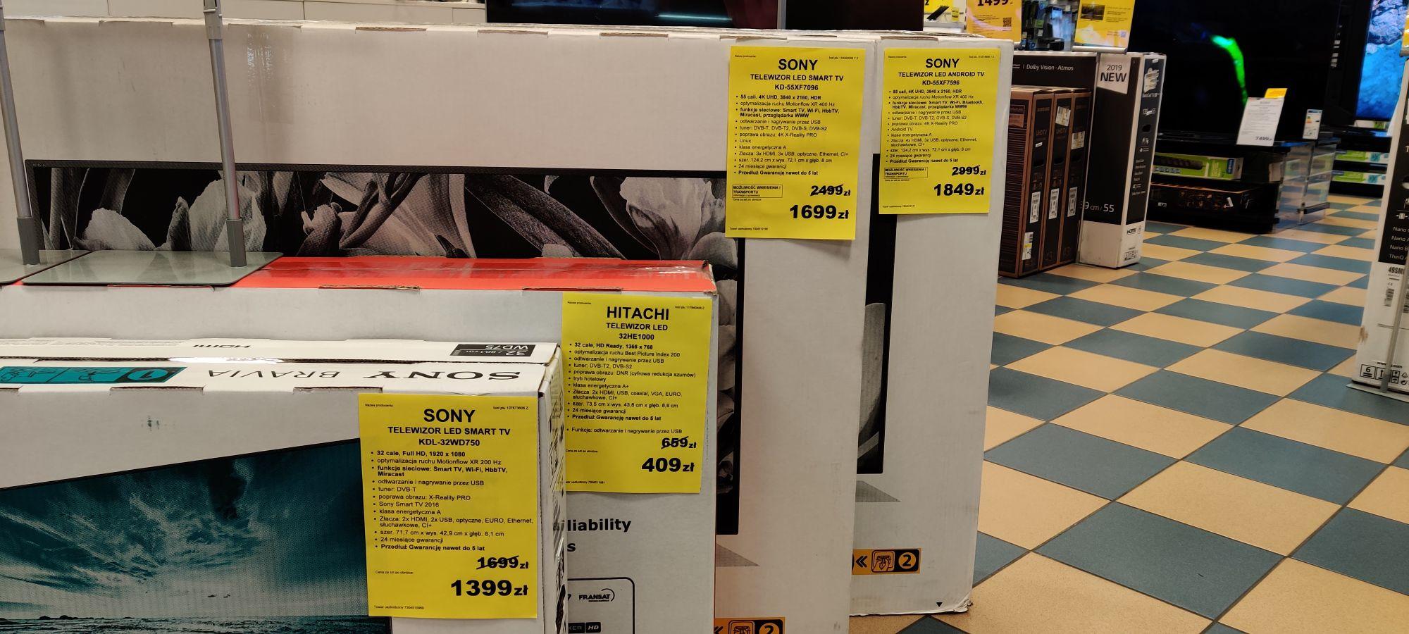 Wyprzedaż Smart TV m.in. Sony 55xf7596 za 1849zl! EURO RTV AGD Bydgoszcz Galeria Pomorska