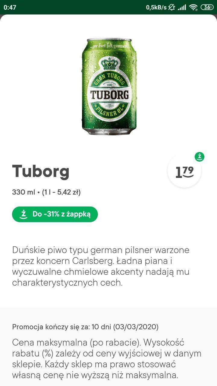 Małe piwo TUBORG w żabce z żappką