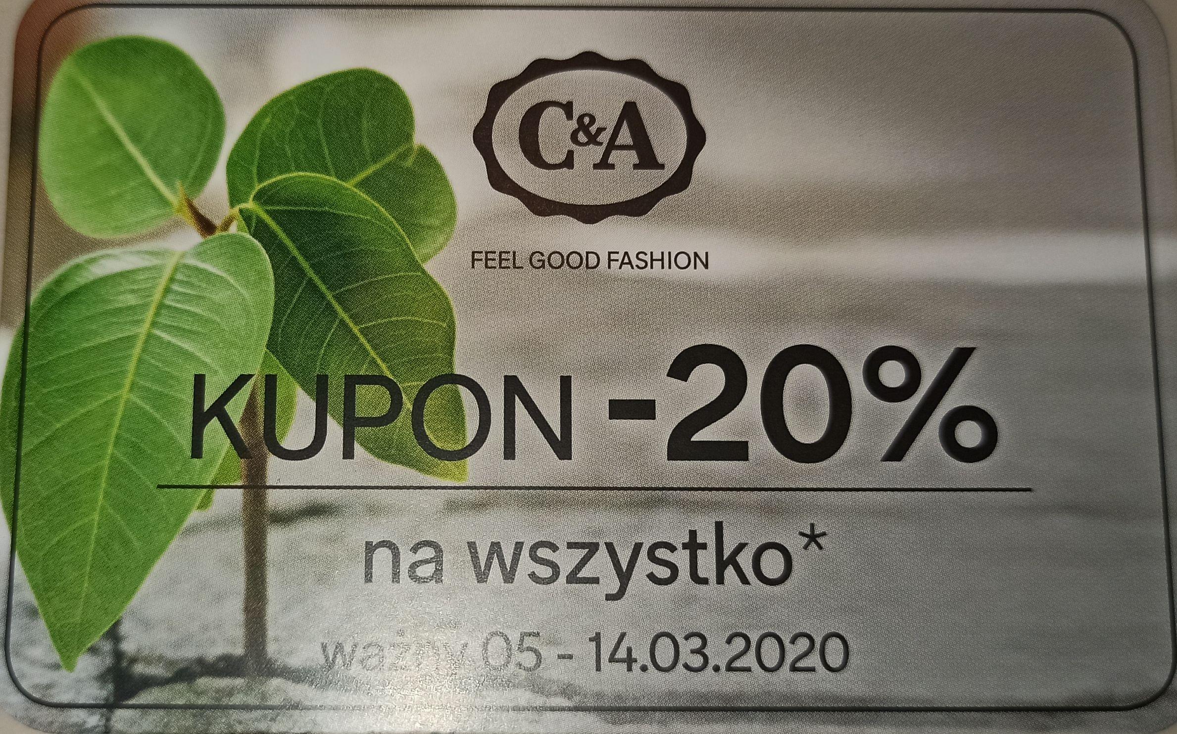 C&A -20% z kuponem/kodem.