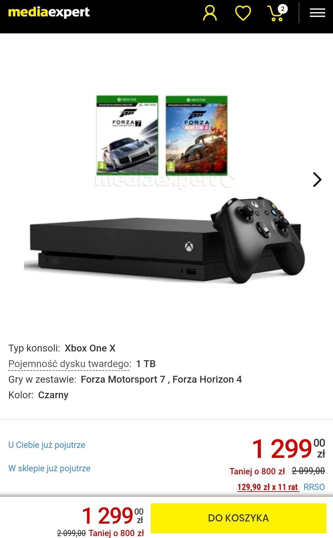 Xbox one X 1TB Motorsport 7 , Forza Horizon 4 Media Expert/Media Markt/Euro RTV AGD