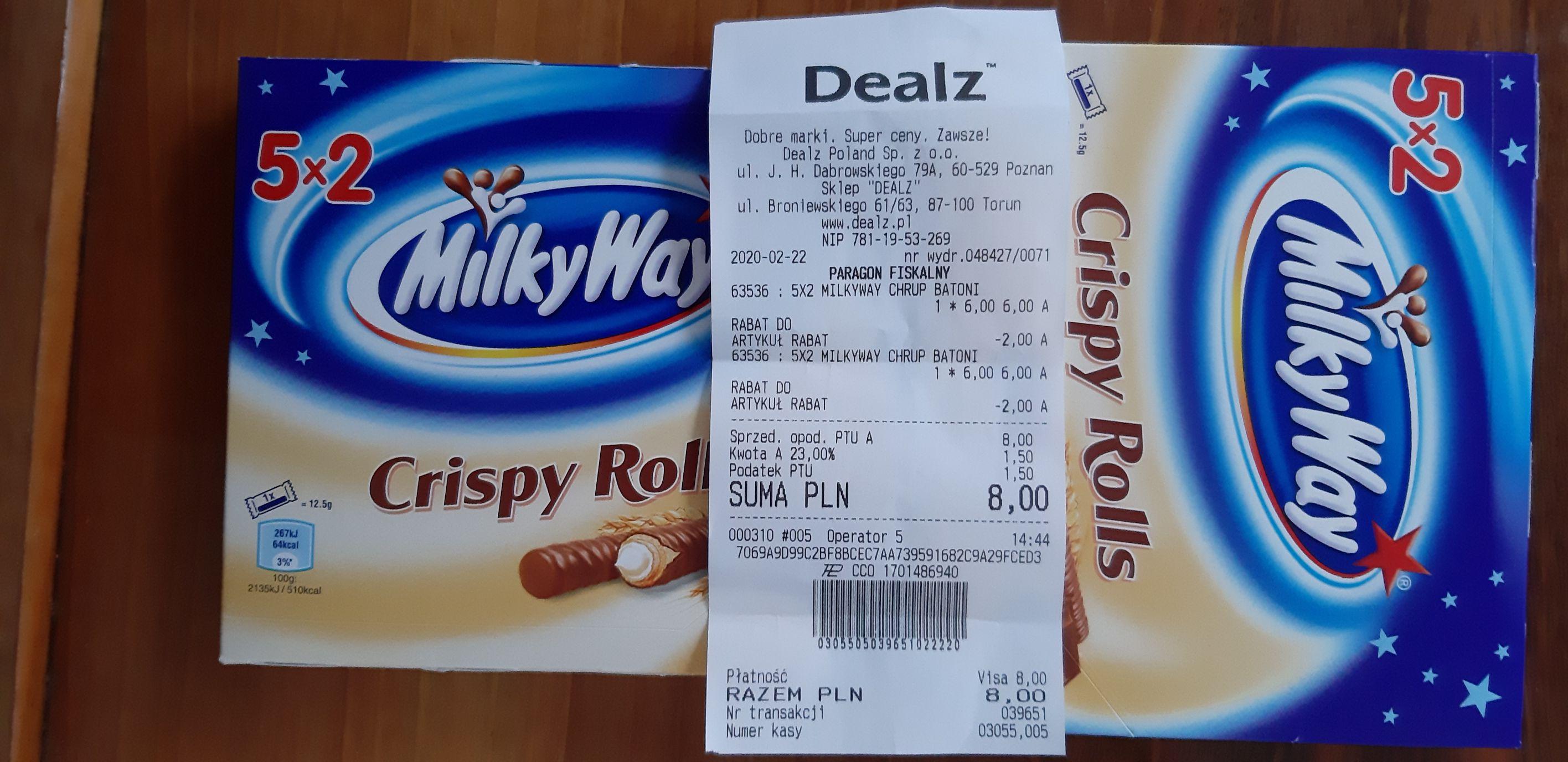 2 x pięciopak MilkyWay Crispy Rolls w Dealz za 8 zł - Ogólnopolska
