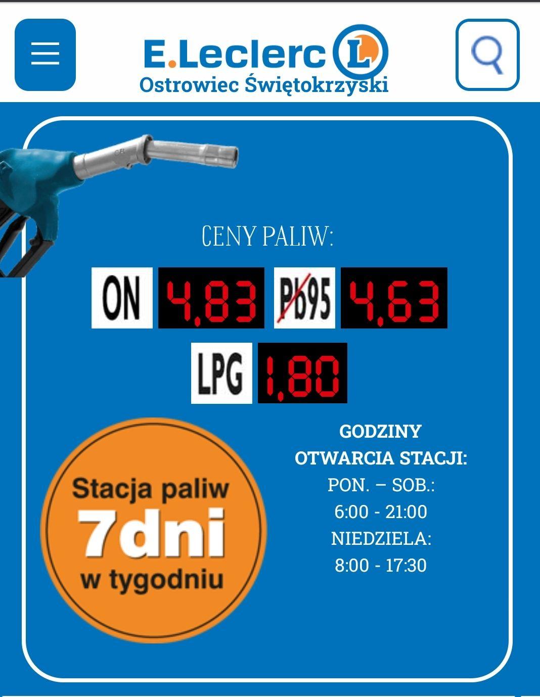LPG 1,80 zł - stacja E.LECLERC Ostrowiec Świetokrzyski - oferta lokalna