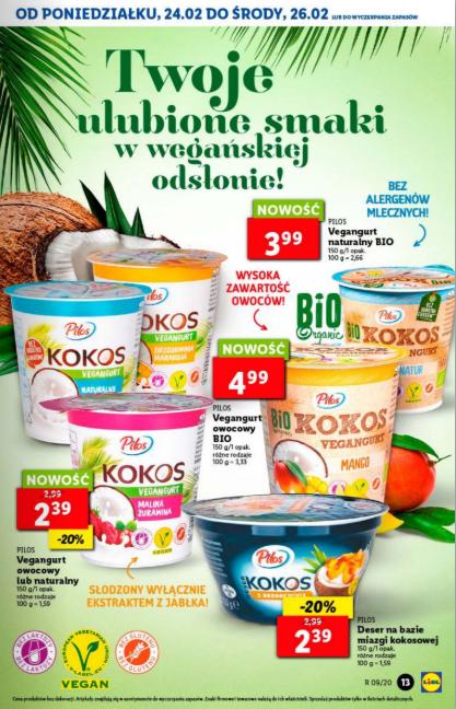 Promocja na vegangurty różne rodzaje i deser kokosowy