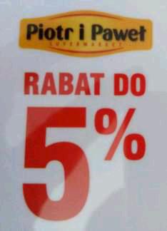 Za darmo karta dająca rabat do 5% w Piotr i Paweł