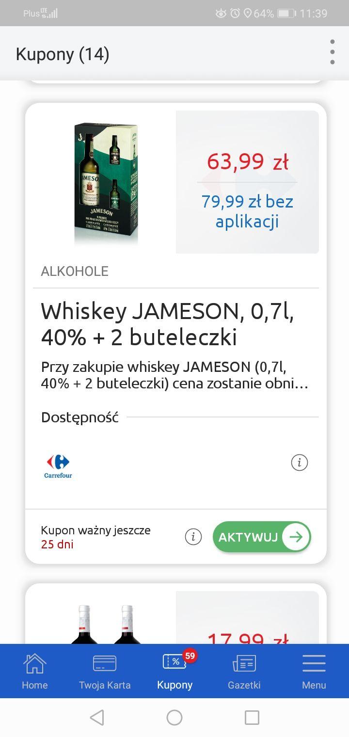 Jameson 0.7 Irish Whiskey + miniaturki Carrefour aplikacja whisky
