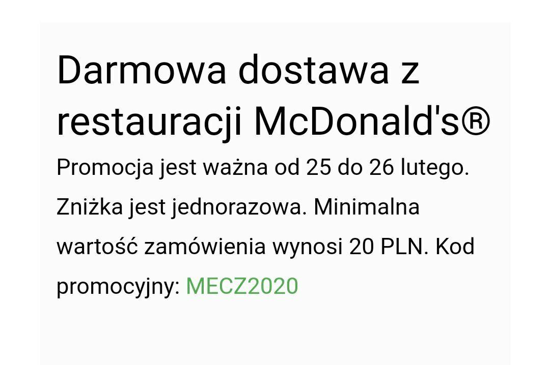 Darmowa dostawa Uber Eats McDonald's