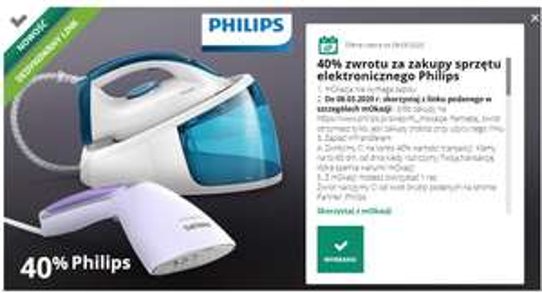 mOkazja Philips 40% na wybrany sprzęt