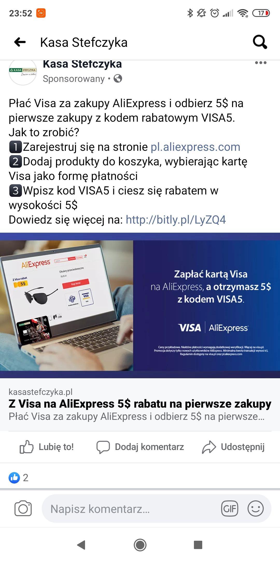 Kupon 5$ na pierwsze zakupy w Aliexpress od Visa