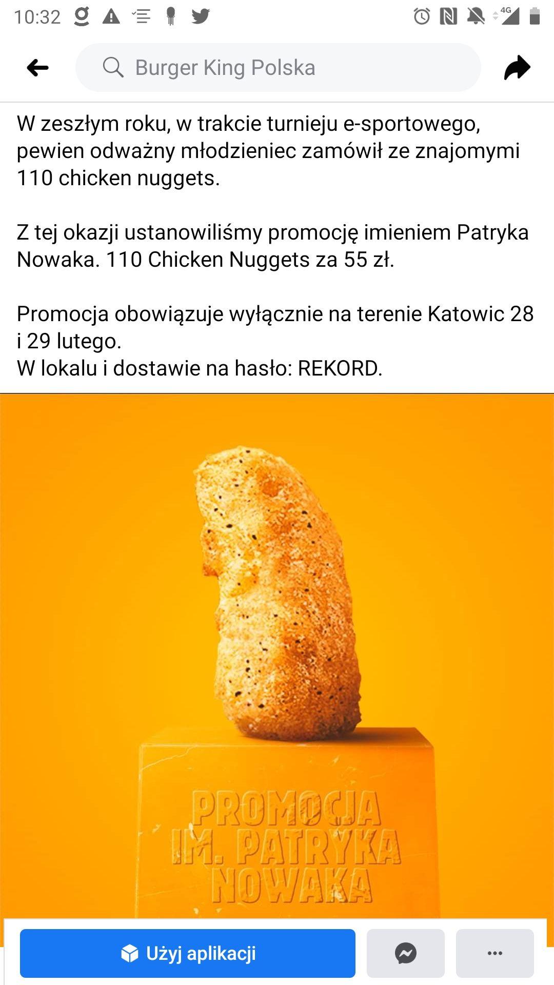 Burger king 110 chicken nuggets za 55 zł. KATOWICE smacznego