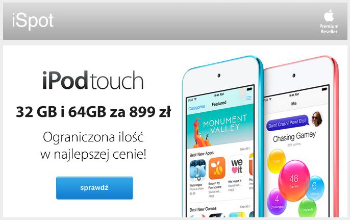 iPod touch 16GB (czarno-srebrny) za 899zł @ iSpot