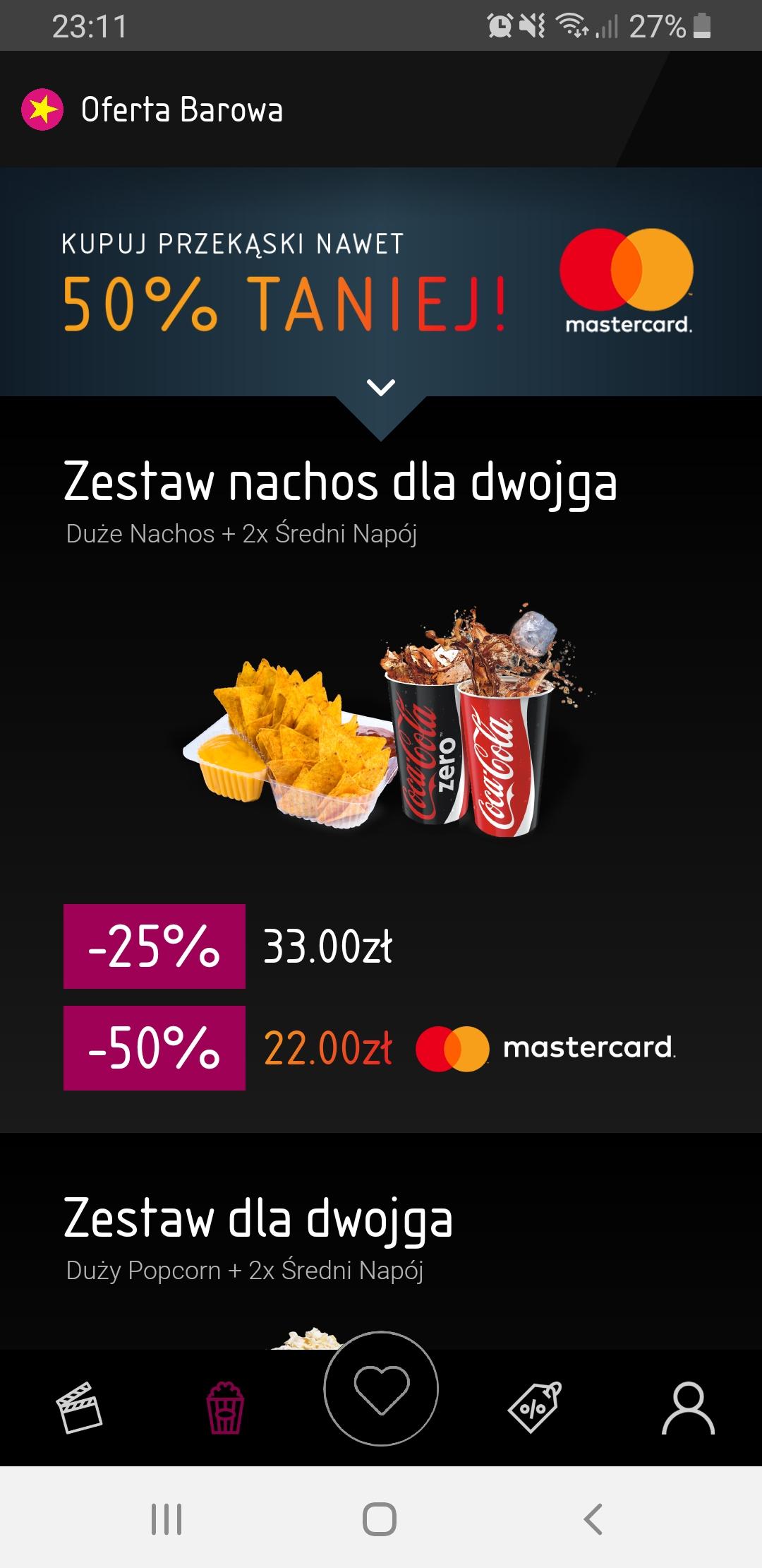Multikino - zestawy z popcornem i nachos za pół ceny- przy płatności Masterpass.