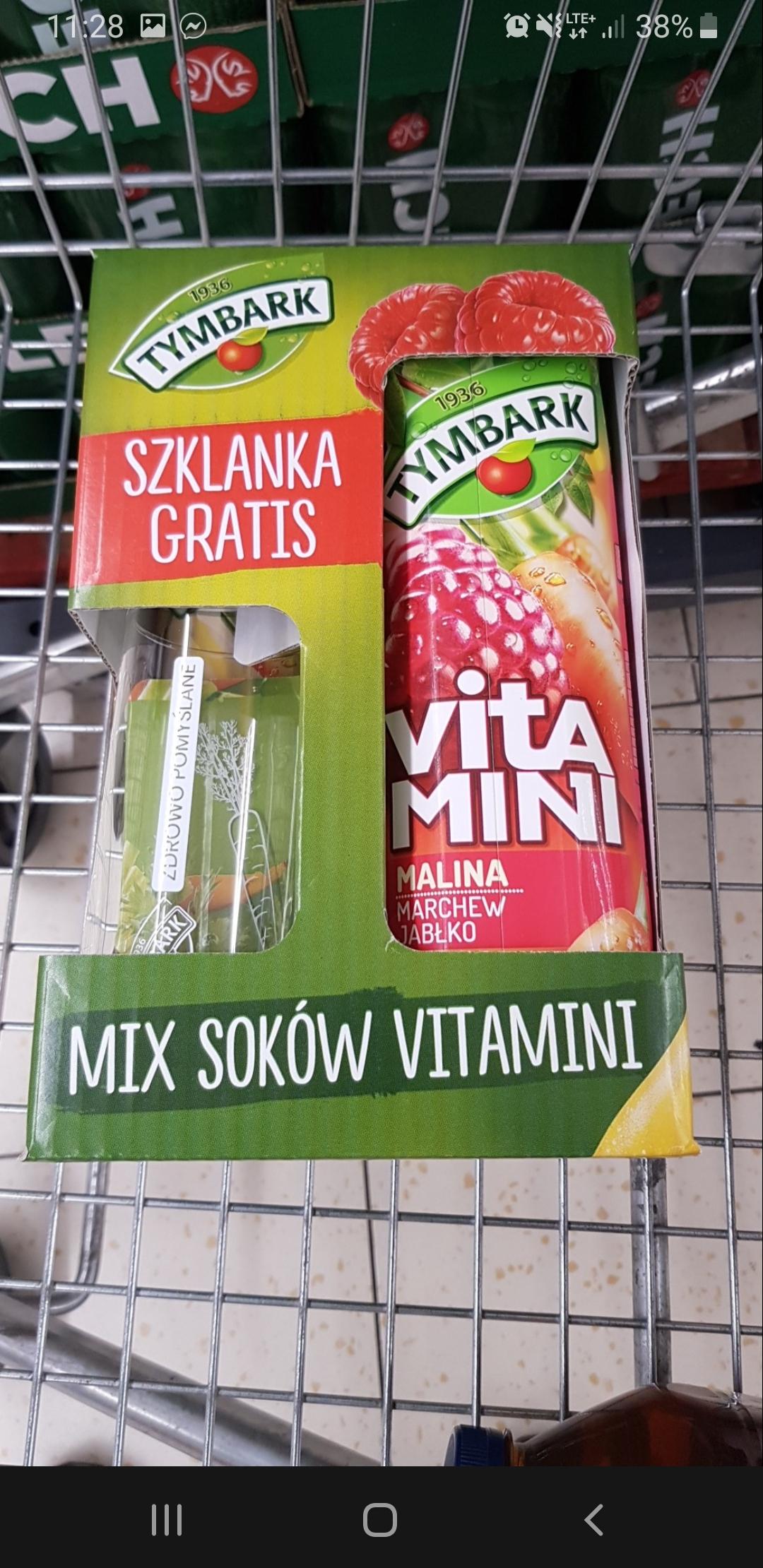 Lidl 3x sok 1l Tymbark Witamini + szklanka