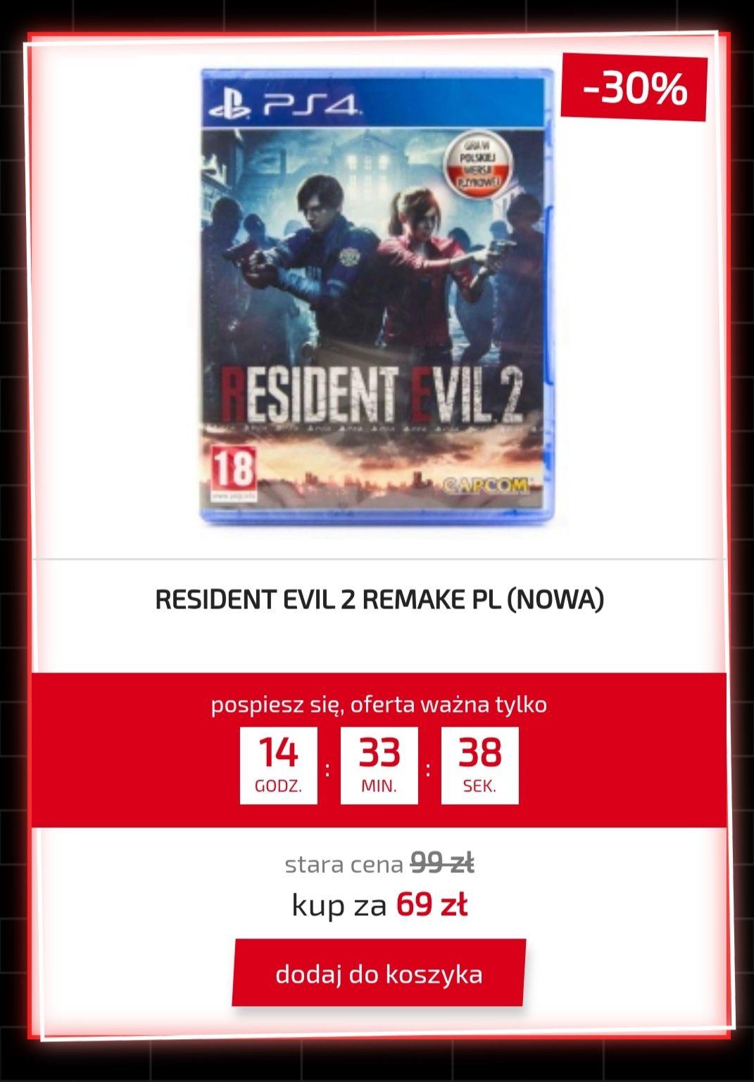 RESIDENT EVIL 2 REMAKE PL PS4 @Shopgamer.pl