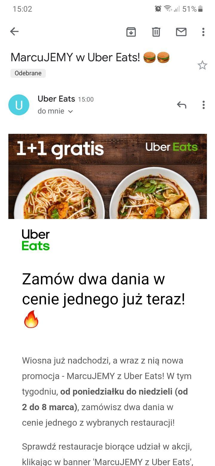 Uber Eats - Dwa dania w cenie jednego w wybranych restauracjach od 2 marca do 8 marca UberEats