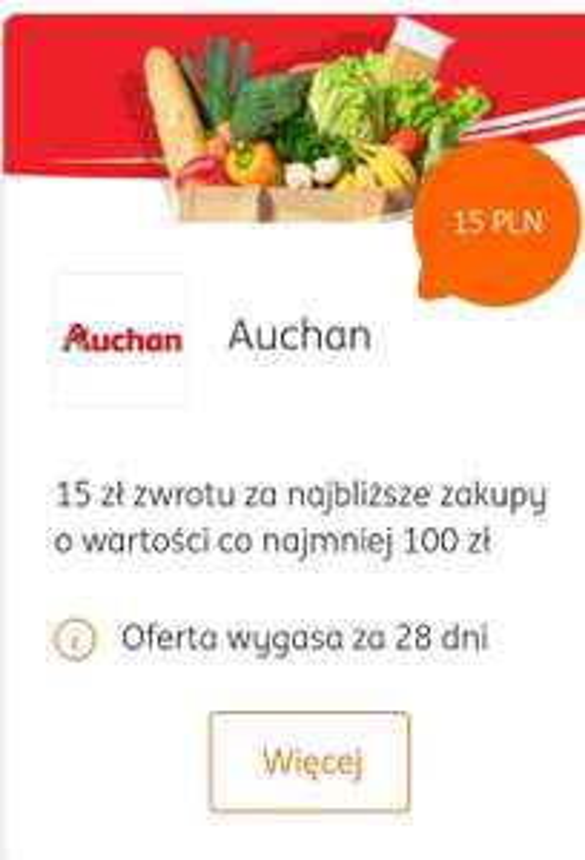 Auchan 15 zł zwrotu za najbliższe zakupy o wartości co najmniej 100 zł - Visa oferty