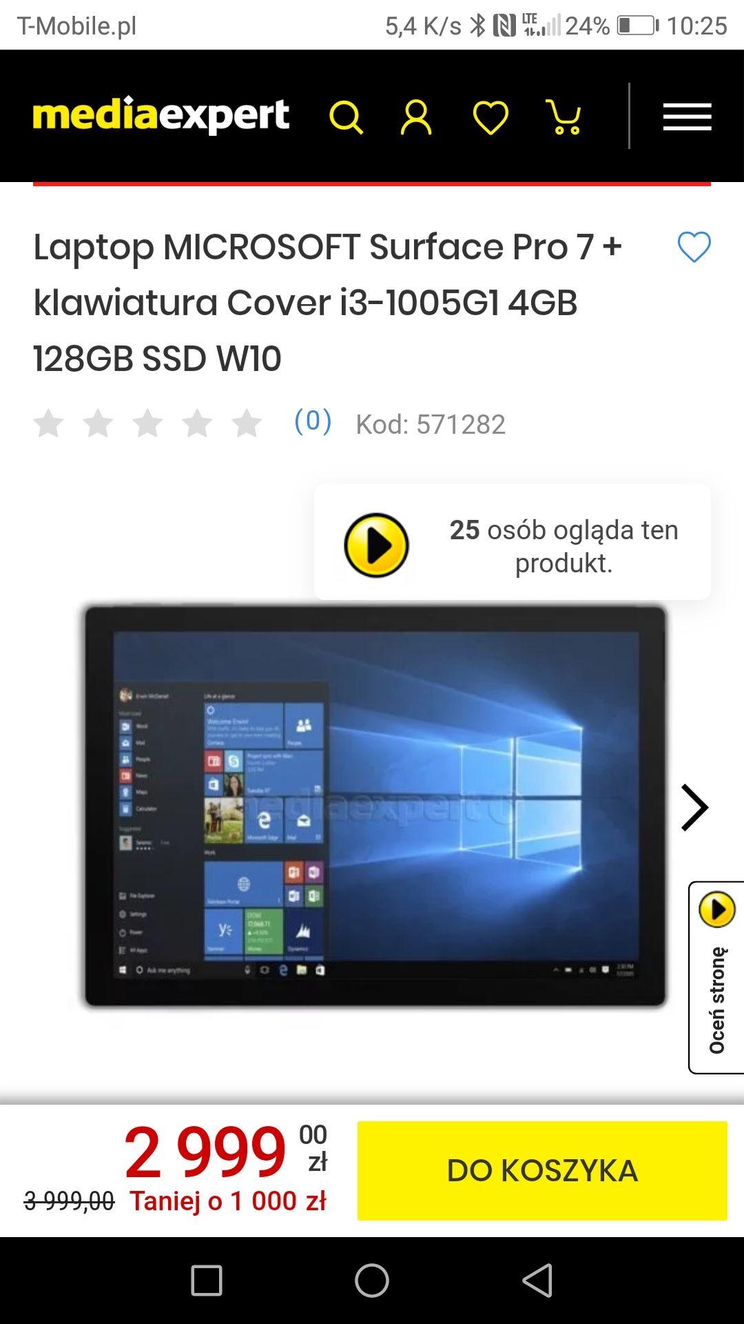 Surface pro 7 z klawiaturą i3 128ssd 12.3 Windows 10 home
