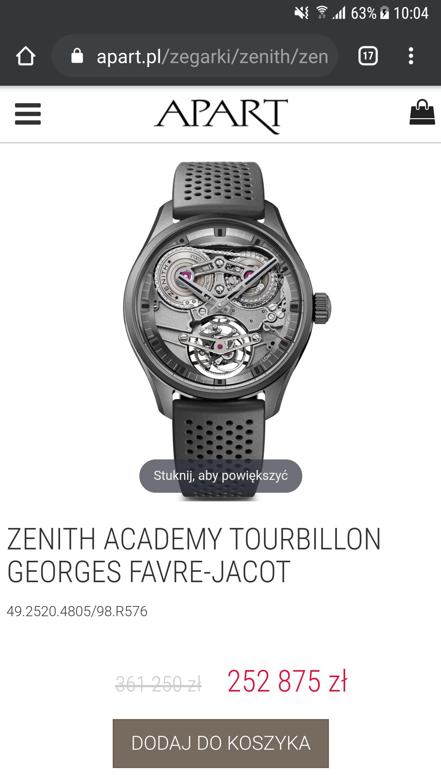 ZENITH ACADEMY TOURBILLON GEORGES FAVRE-JACOT