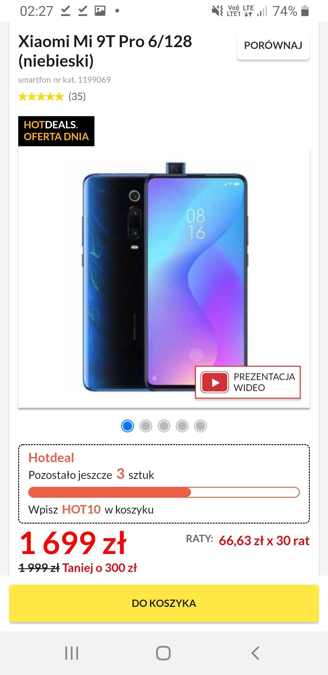 Xiaomi Mi 9T Pro 6/128 (niebieski) oficjalna PL dystrybucja
