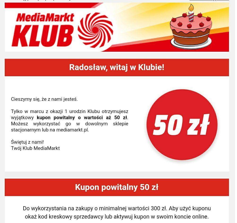 Kupon powitalny Klub Media Markt -50zł