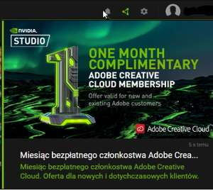 Adobe Creative Cloud (1msc.) za darmo w GeForce Experience