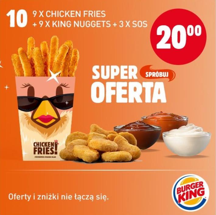 20 zł za 9x Chicken Fries + 9x King Nuggets + 3x sos