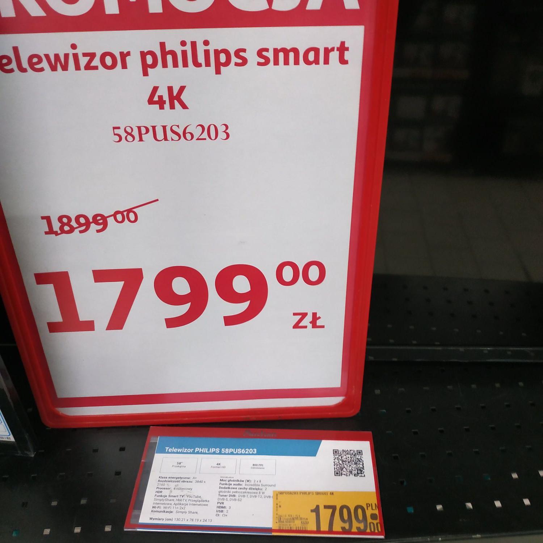 Phillips 58pus6203 Auchan Grudziądz telewizor 4k smart