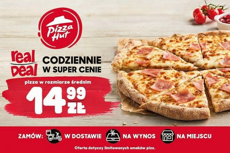 Pizza Hut, średnia pizza (jedna z trzech) za 14,99, codziennie.