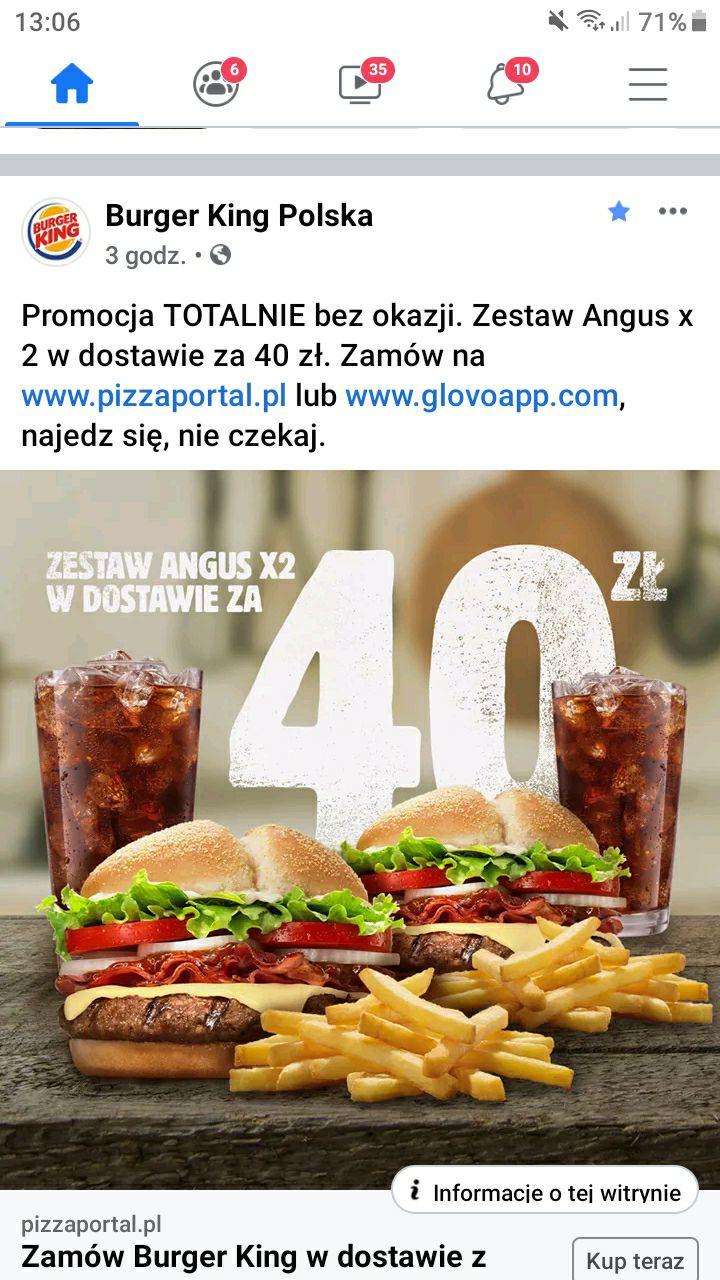 Burger King Zestaw Angus x2 w dostawie