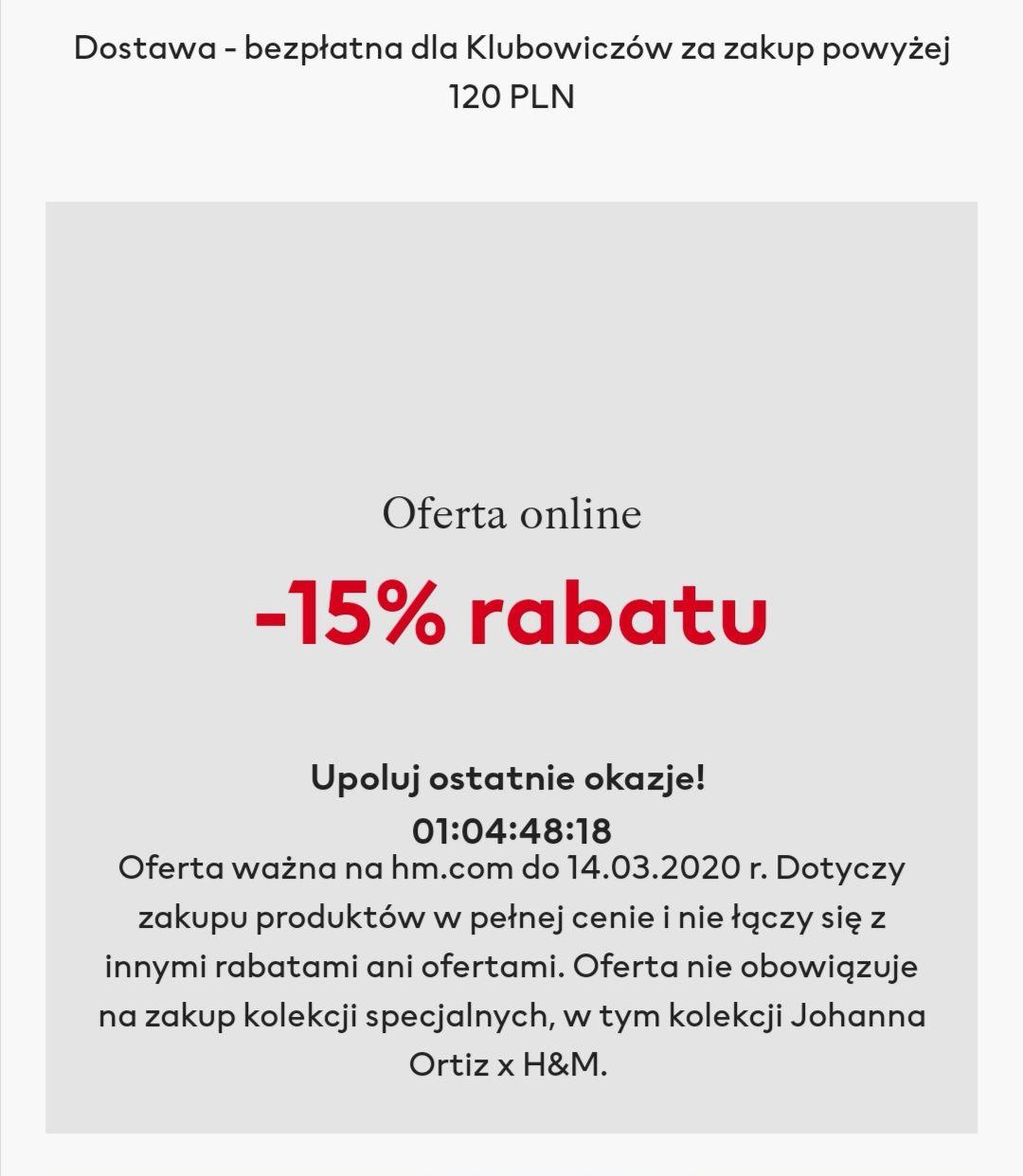 -15 % rabatu H&M online