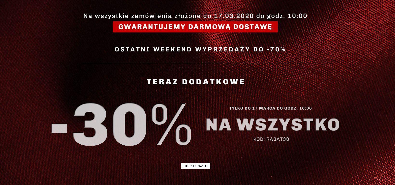Dodatkowe 30% na oznaczony asortyment w Vistuli