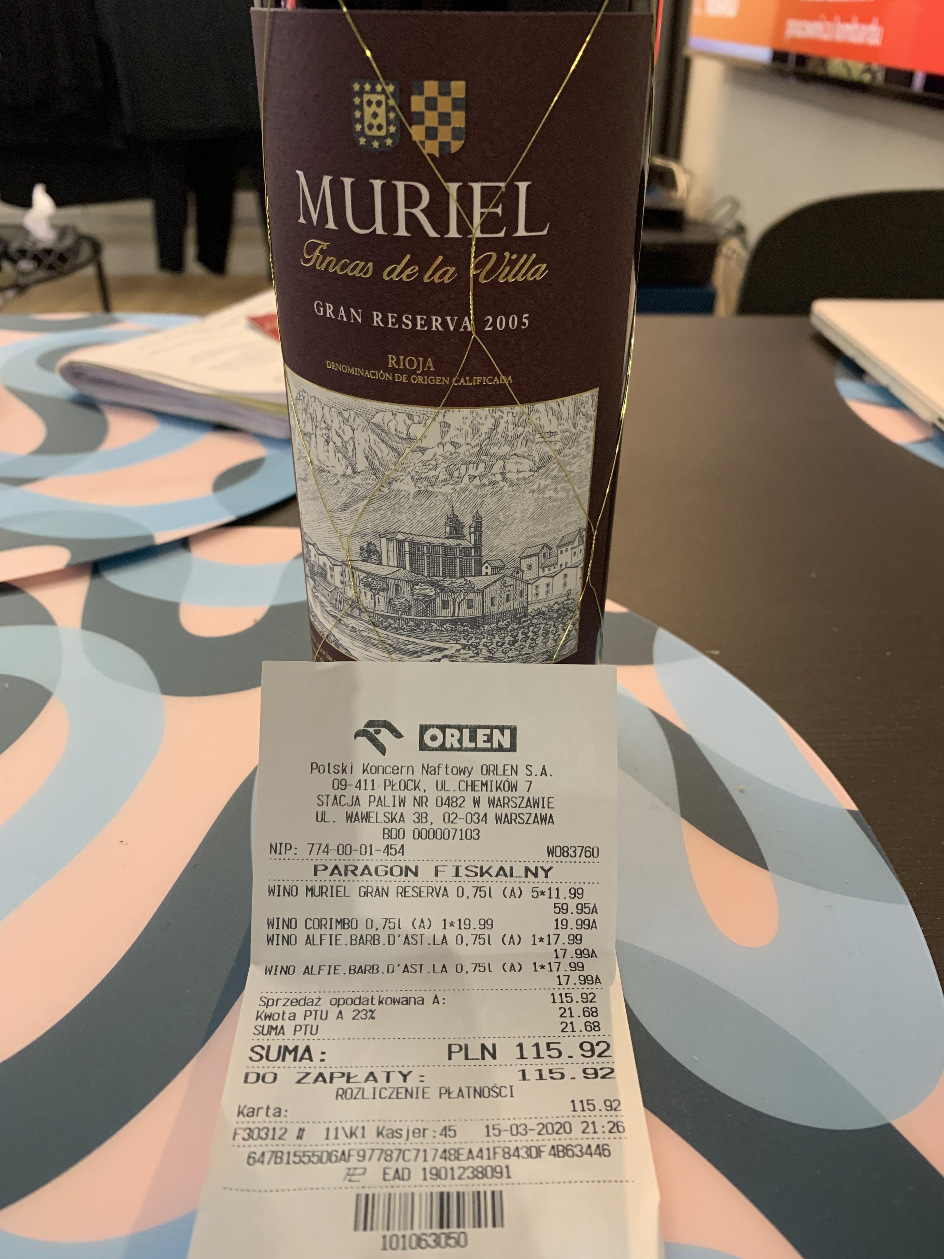 Wino Rioja Muriel Gran Reserva 2005 @Orlen Warszawa