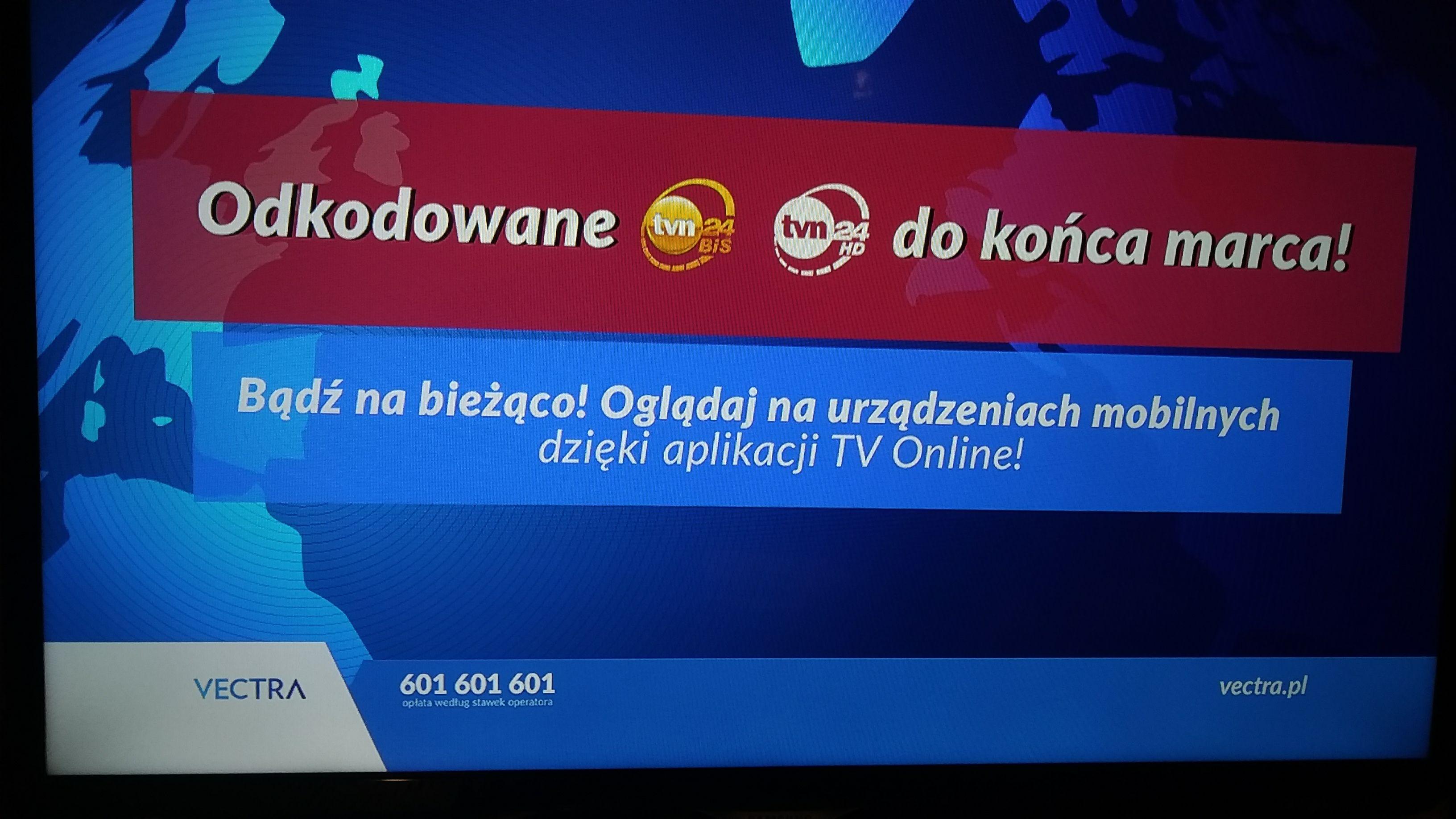 TVN24 i TVN24 BiS w tv kablowej Vectra odkodowane do końca marca.