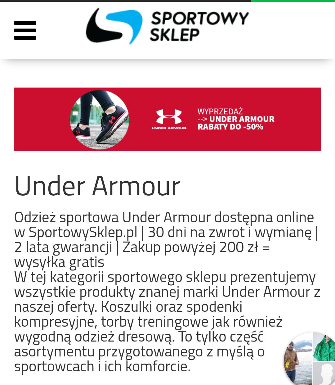 Sportowysklep.pl wyprzedaż Under Armour