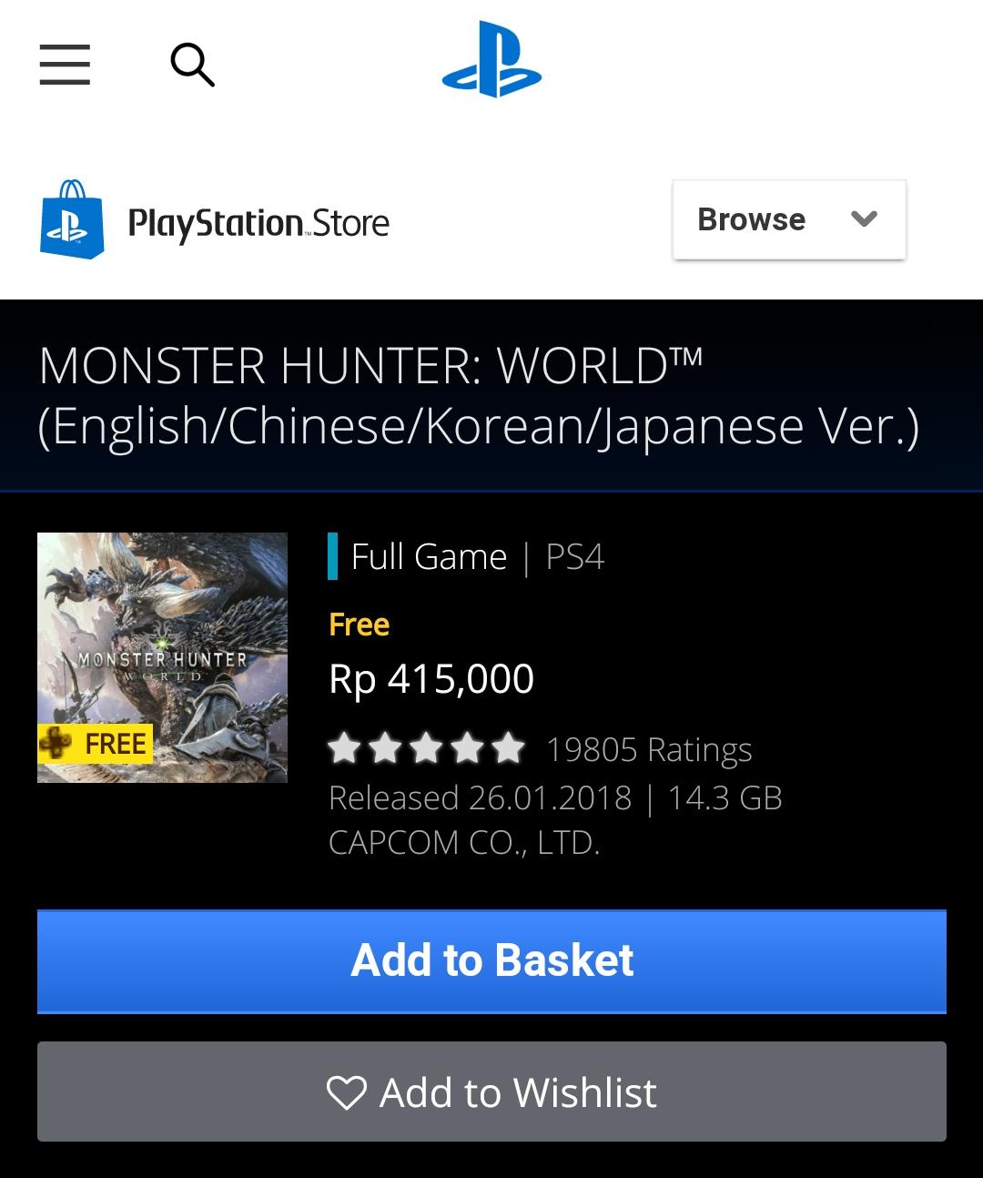 [PS4] Monster Hunter World darmowe dla azjatyckich kont z psn+