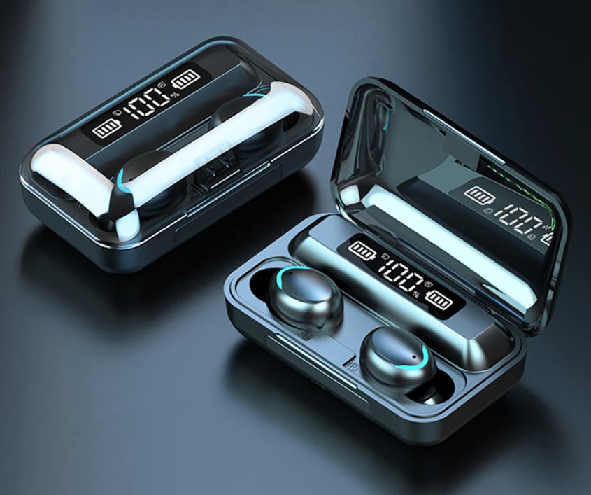 F9-5 TWS zestaw słuchawkowy bluetooth z etui-powerbanku z wyświetlaczem stanu baterii słuchawki douszne