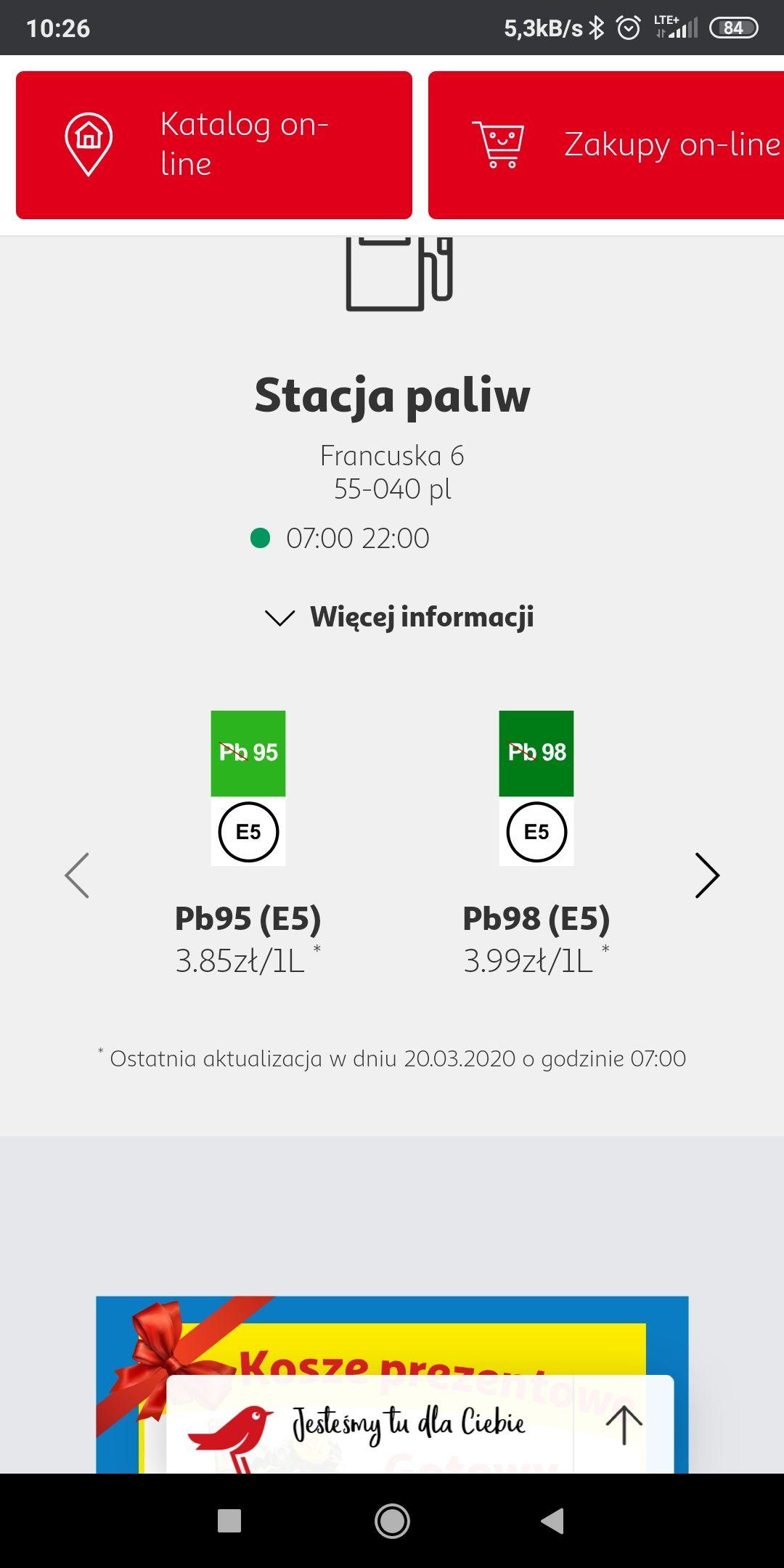 Paliwo stacja Auchan Bielany Wrocławskie benzyna 95 za 3,85 PLN