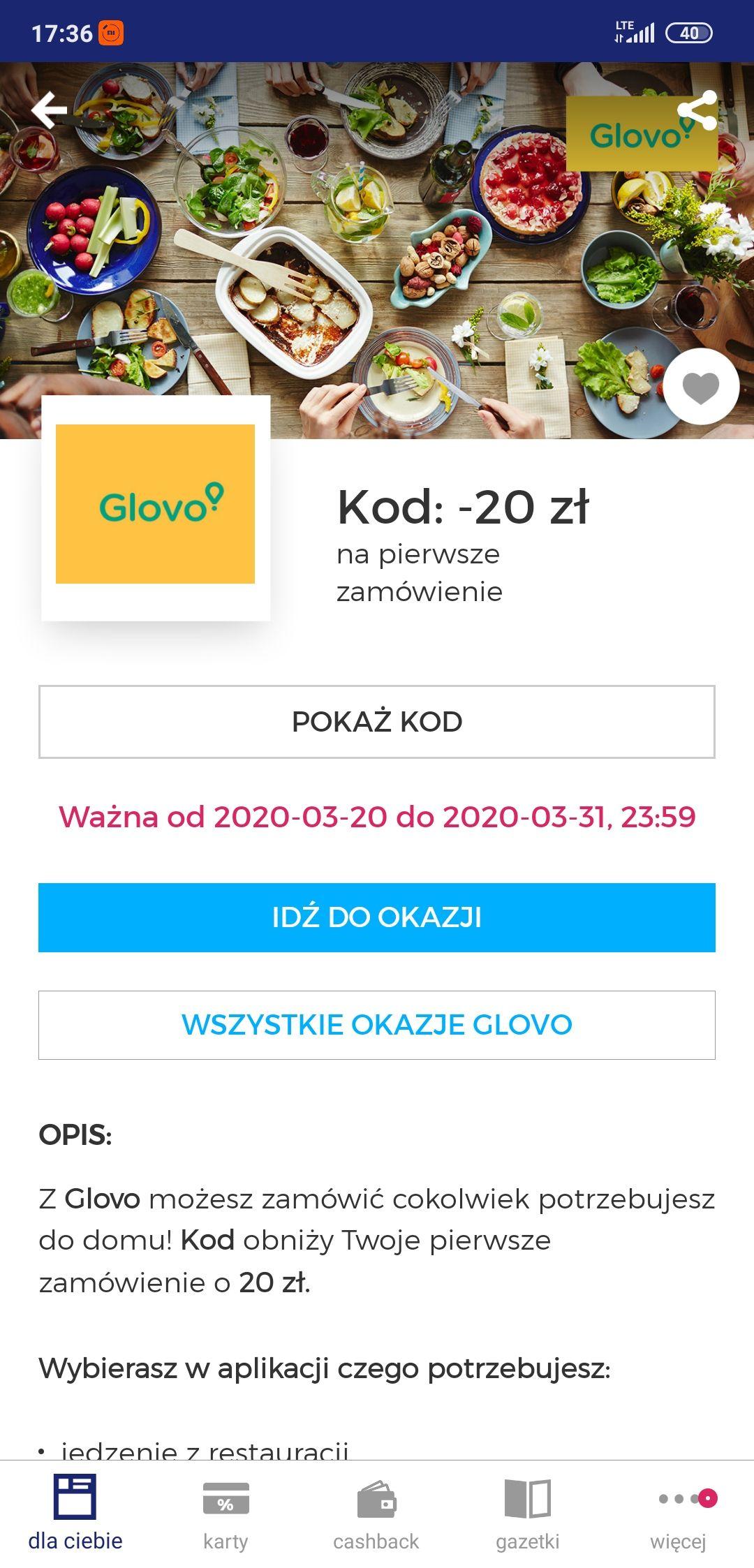 Glovo -20 zł powyżej 45 dla nowych (goodie)