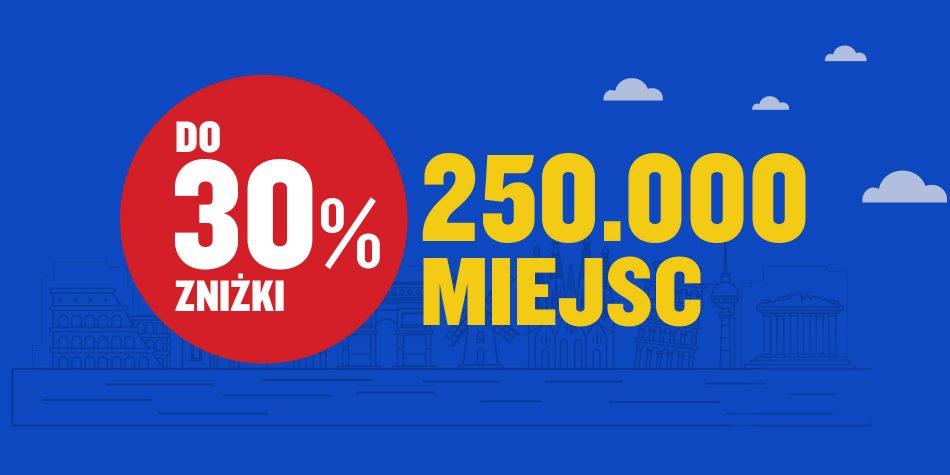 Do 30% zniżki na ponad 250.000 biletów w Ryanair