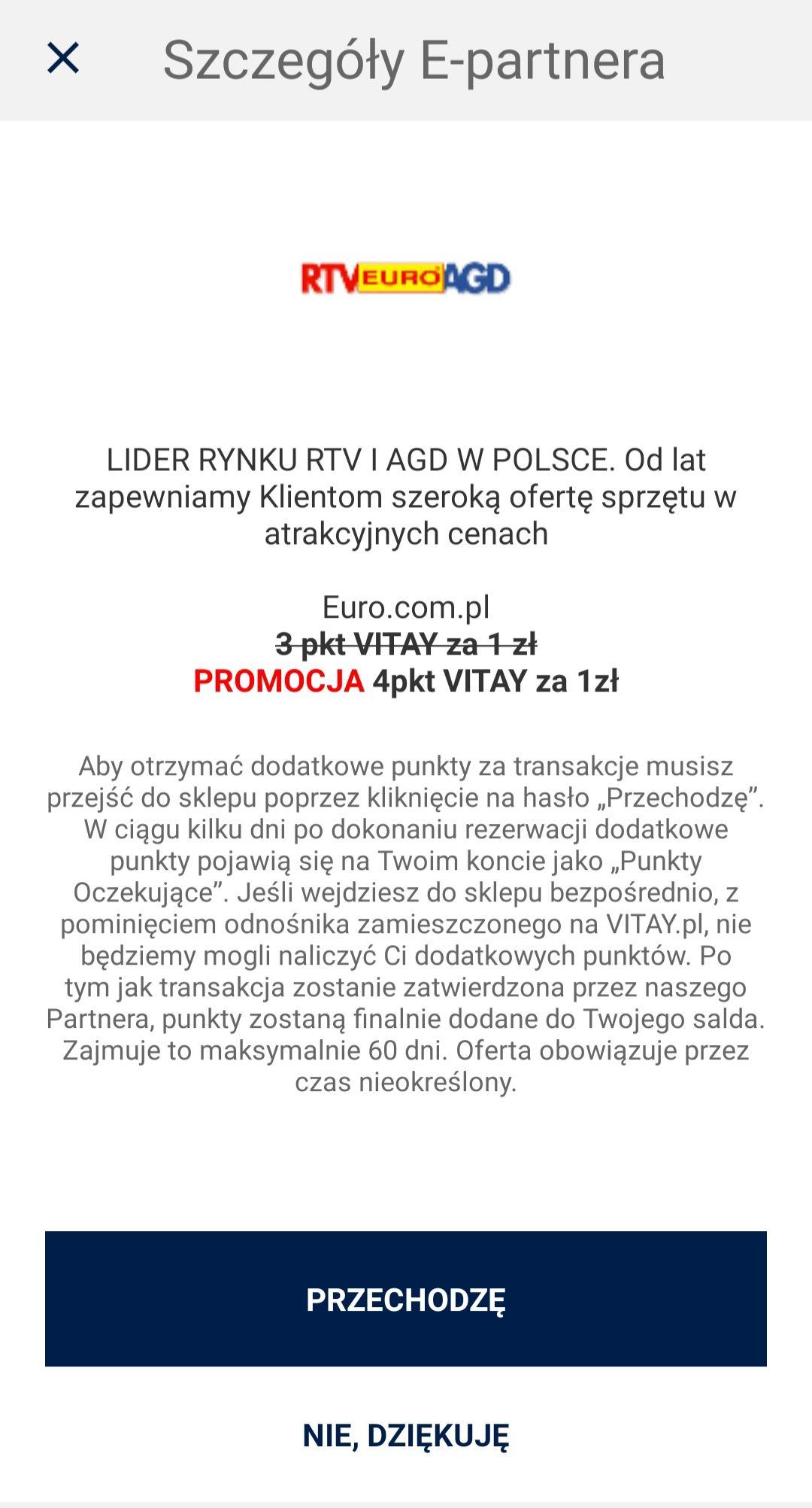 4 pkt vitay za 1 zł w Euro.com.pl Media Expert, Media Markt