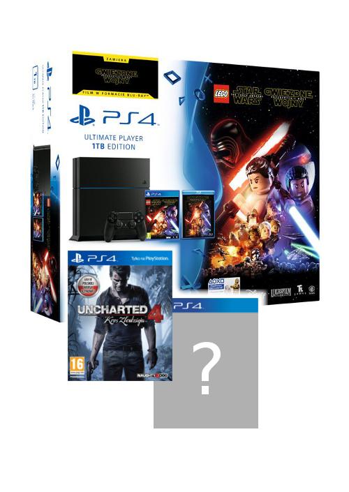 PS4 1TB + film + LEGO + U4 + 1 lub 2 gry
