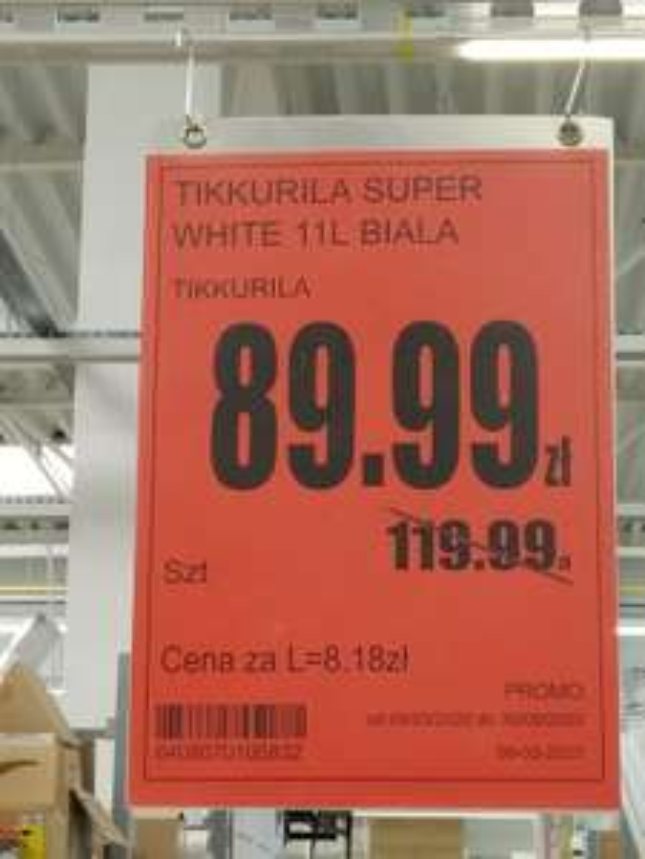 Brico - Farba biała TIKKURILA Super white 11 l