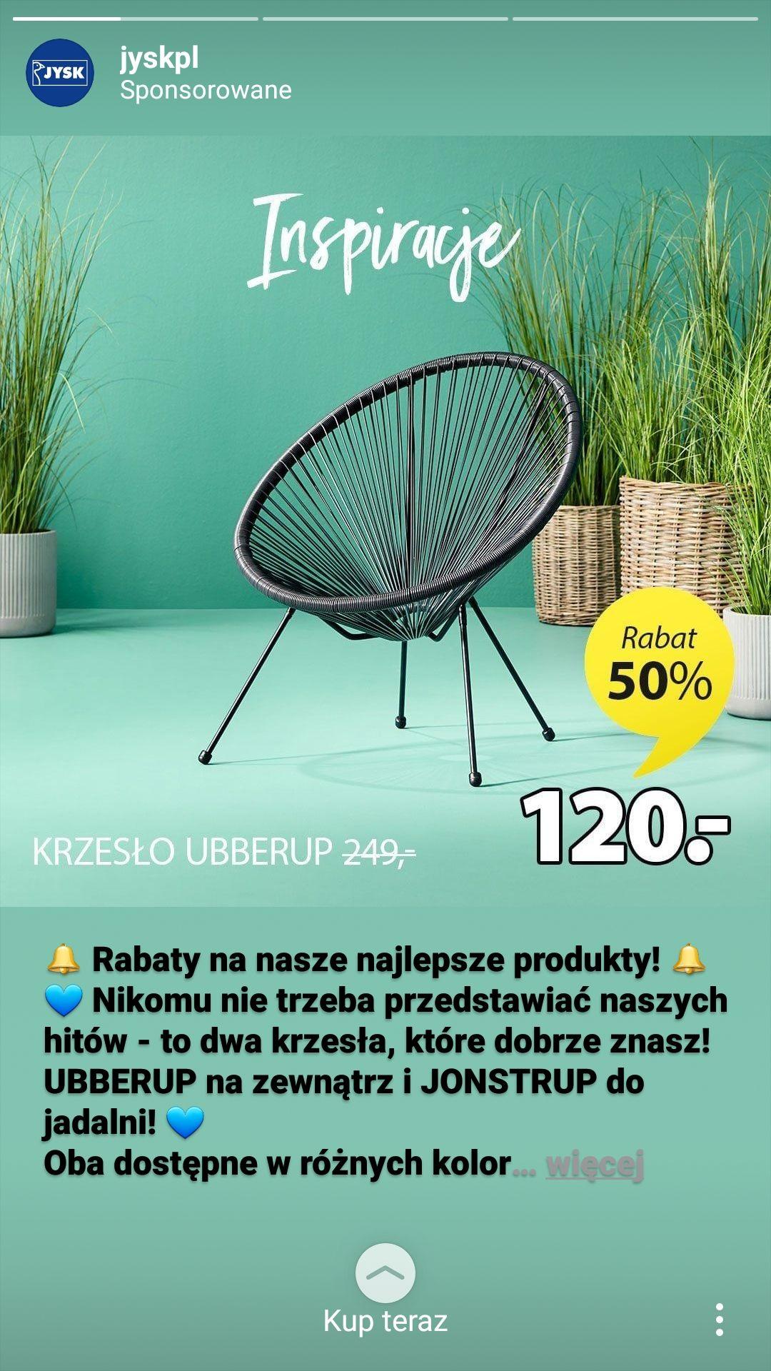 Krzesło ogrodowe Jysk 50% taniej