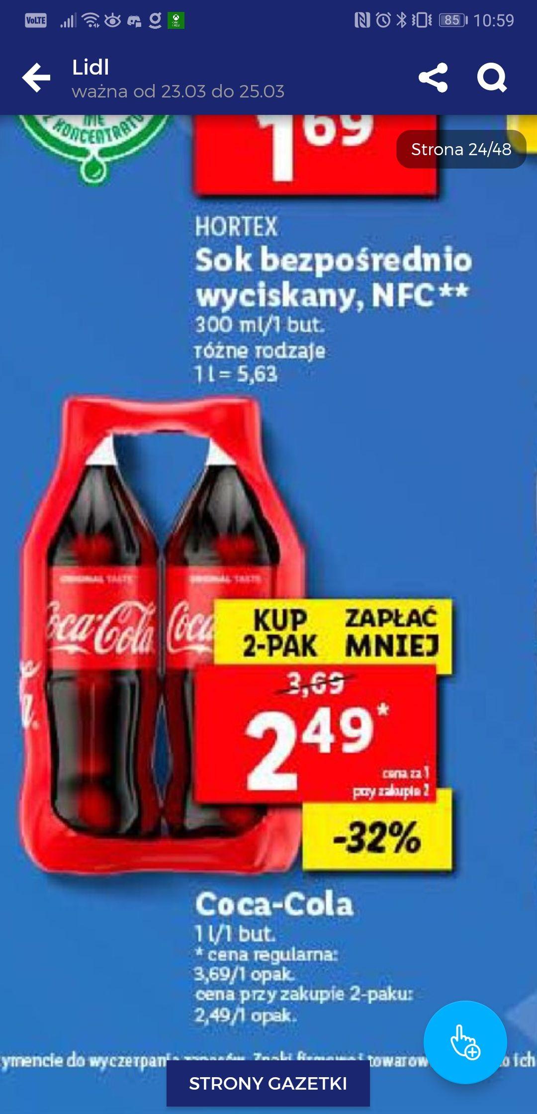 2pak Coca-Cola 2x1l za 4,98 (2,49/szt)
