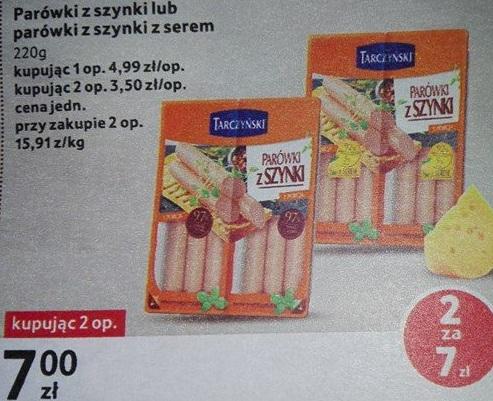 Parówki Tarczyński 97% mięsa 220 g za 3,50 zł w Tesco