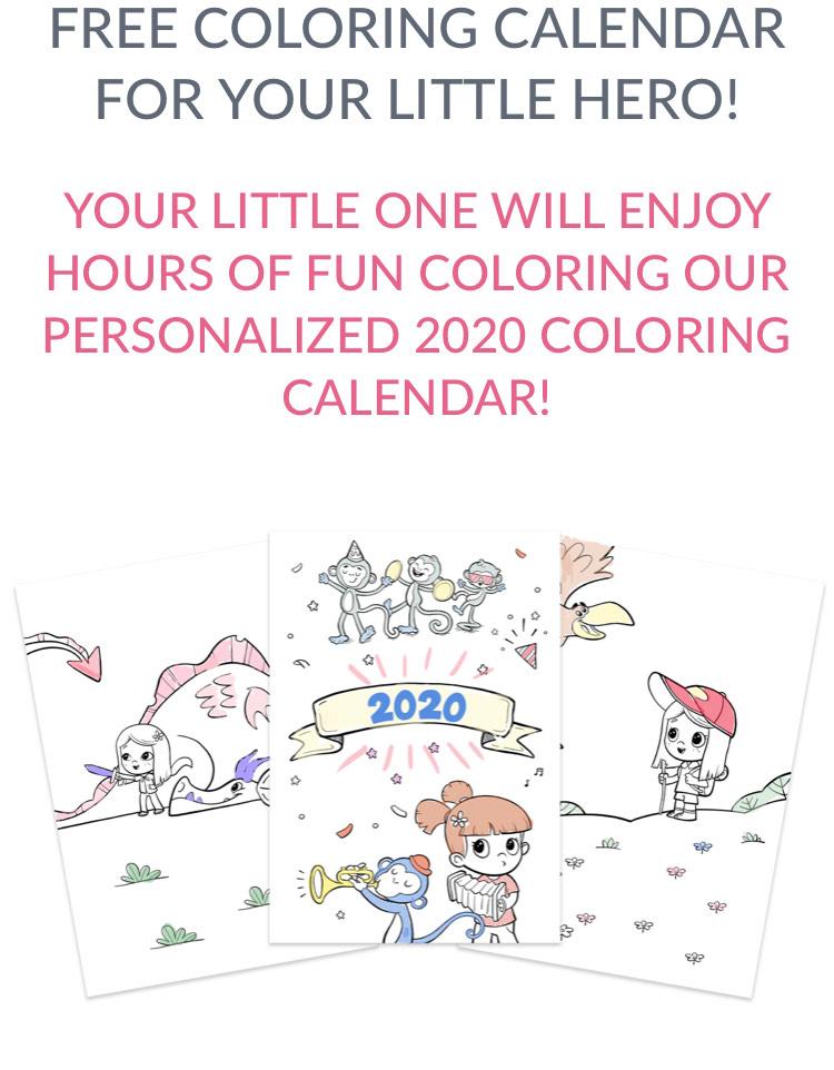 Darmowa, spersonalizowana kolorowanka - kalendarz 2020 Hooray Heroes