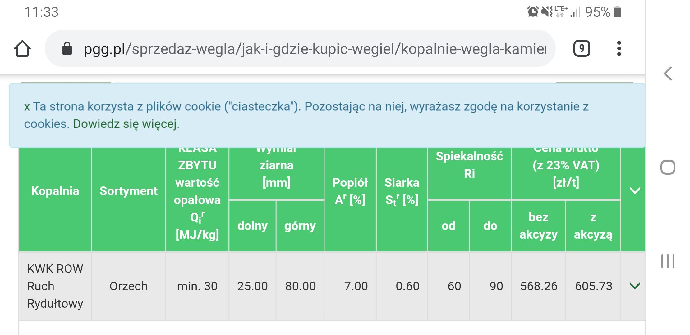 Śląskie - bardzo dobre ceny węgla na kopalniach PGG. 568 zł za tonę