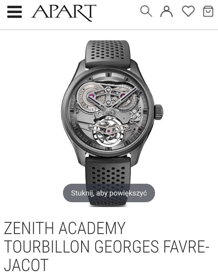 apart zegarek ZENITH ACADEMY TOURBILLON GEORGES FAVRE-JACOT